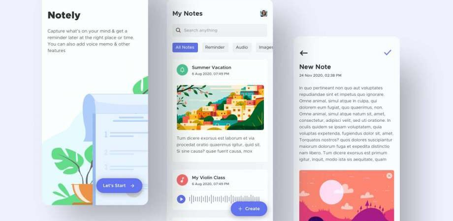 Free Note Taking App UI Kit Concept