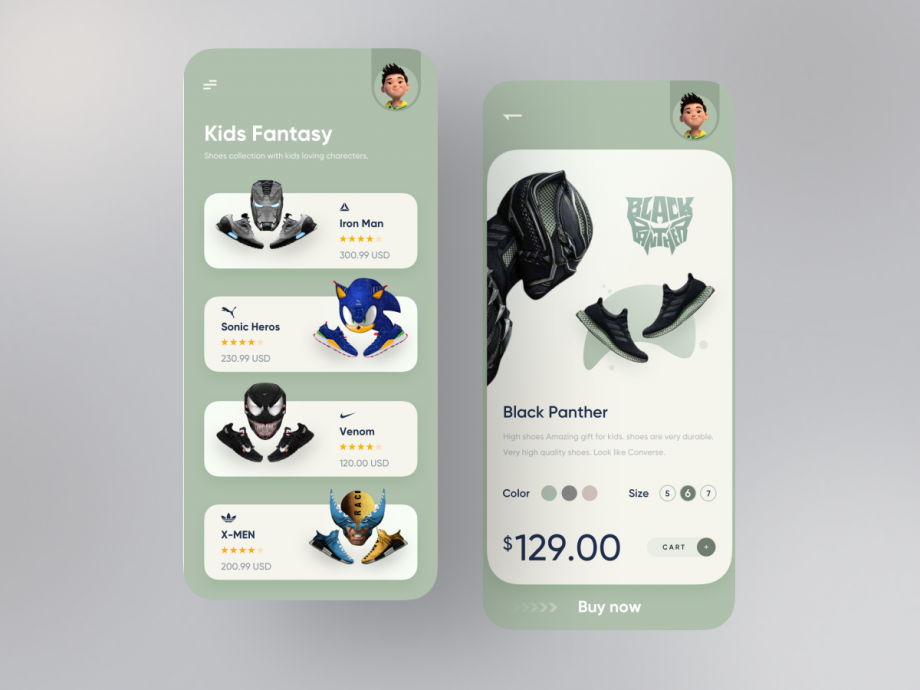 Free Orix Shoes Product App UI Kit