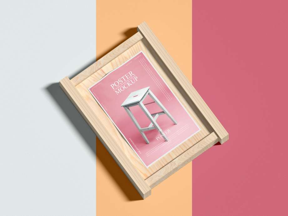 Free Poster with Wood Frame Mockup