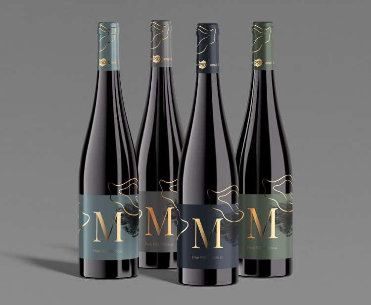Free Set of Wine Bottles Mockup