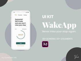 Free WakeApp Alert & Travel APP UI Kit