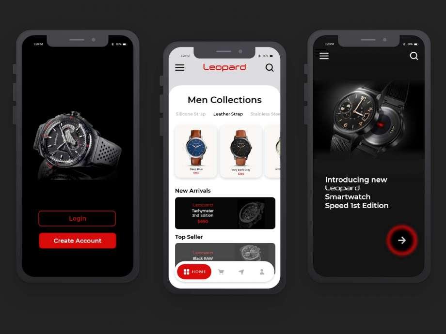 Free Watch Store App Concept UI Kit