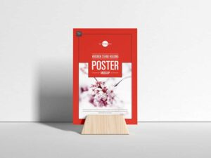 Free Wooden Stand Poster Mockup