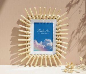 Free Wooden Sticks Photo Frame Poster Mockup