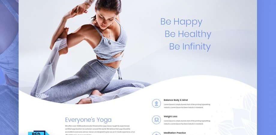 Free Yoga Website PSD Template