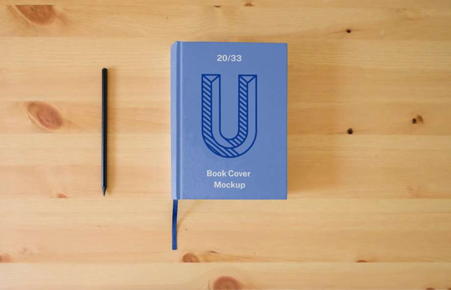 Hard Book Cover with Pen Free Mockup