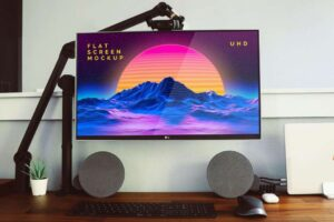 LG Flat Screen Monitor Free Mockup