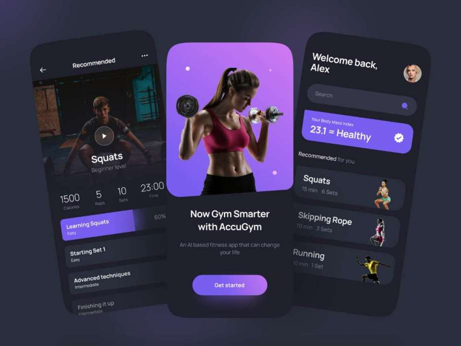 Free AccuGym Home Workout App UI Kit