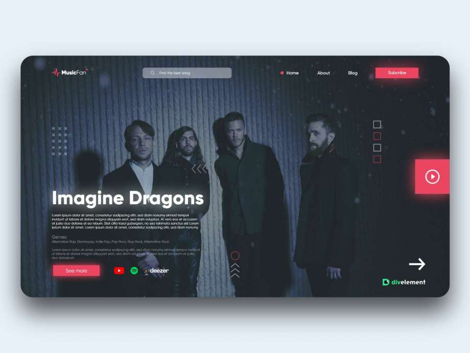 Free Music Concept XD Website Template