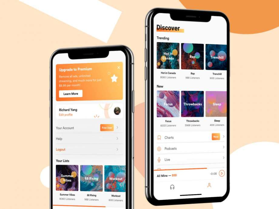 Free Music Stream App UI Kit Concept
