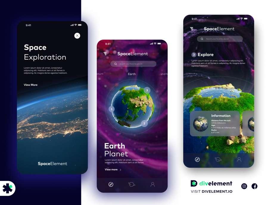 Free Space Exploration App Concept
