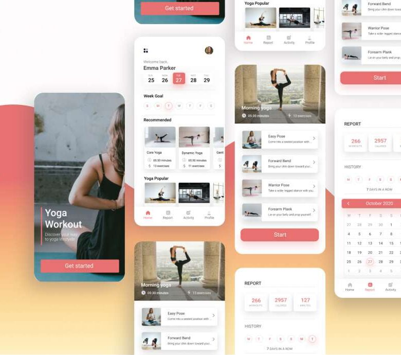 Free Yoga Workout App UI Kit
