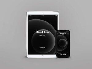 Free iPhone 12 PRO Silver & iPad Pro Mockup