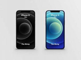 Free iPhone 12 Pro Silver & Dark Blue Mockups