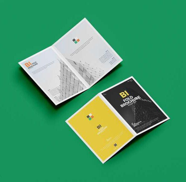 Free A4 Bi-Fold Brochure Mockup PSD