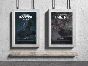 Free Advertising Display Glued Paper Posters Mockup