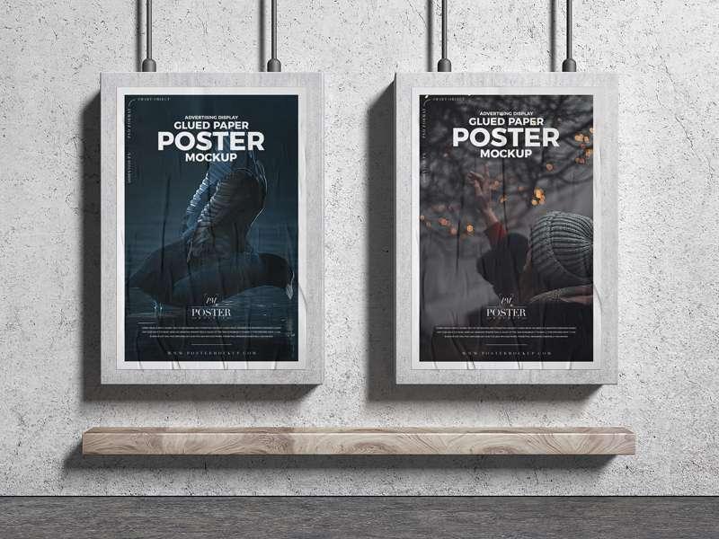 Free Advertising Display Glued Paper Posters Mockup