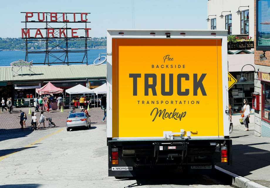 Free Backside of Truck Transportation Mockup PSD