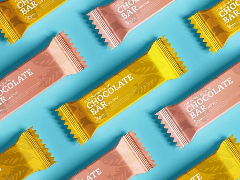 Free Chocolate Candy Granola Bar Mockup
