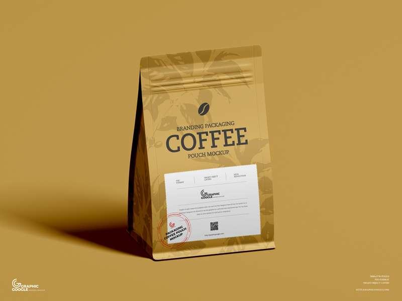 Free Coffee Branding Packaging Pouch Mockup