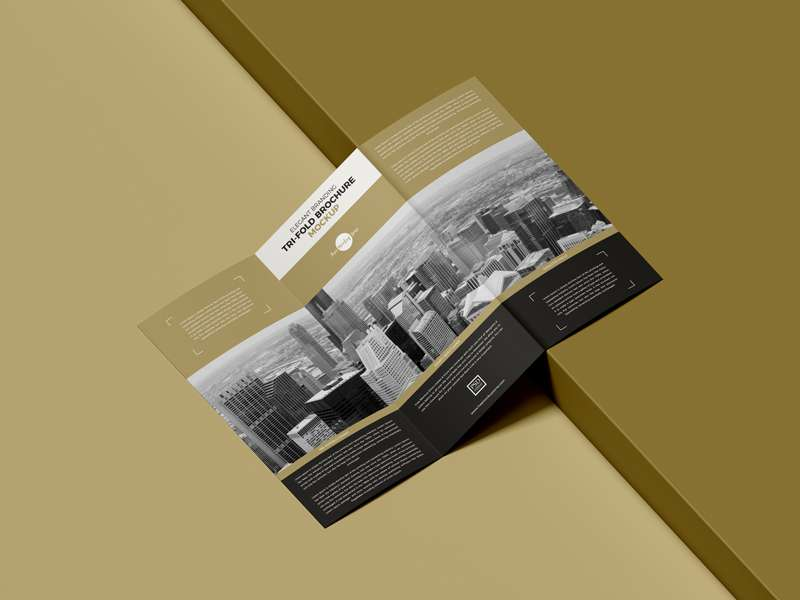 Free Elegant Branding Tri-Fold Brochure Mockup