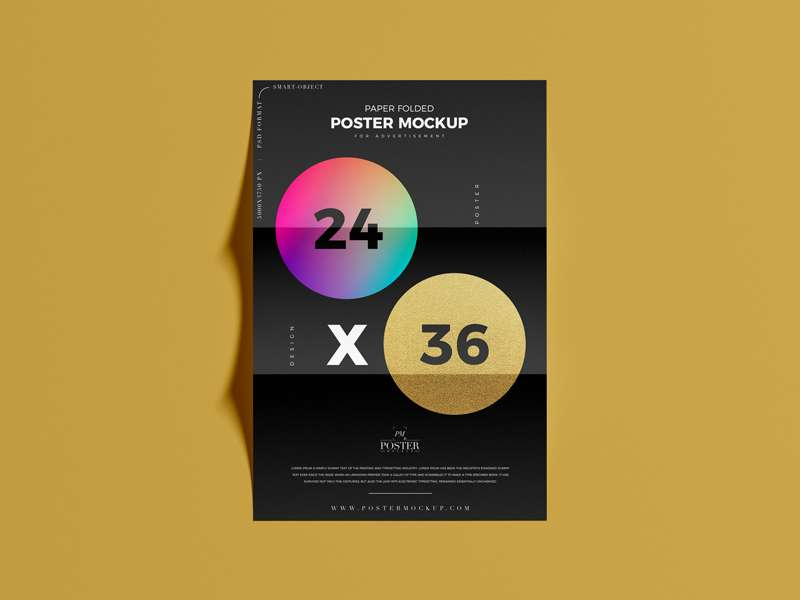 Free Paper Folded 24×36 Poster Mockup PSD