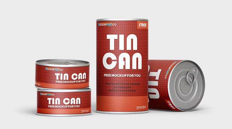 Free Tin Can Mockup in PSD