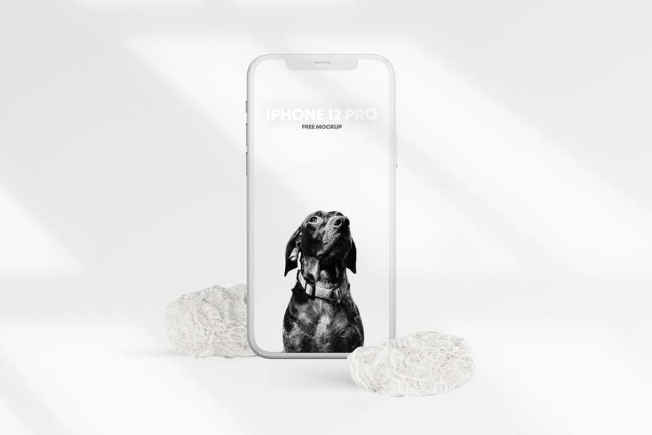 Free iPhone 12 PRO Clay Scene Mockup