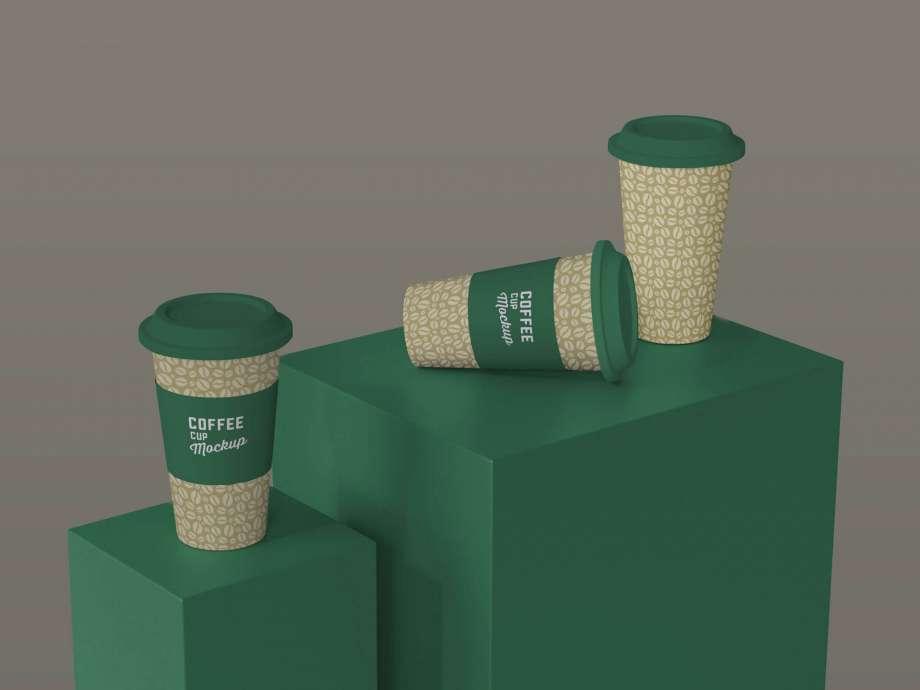 Free 3 Paper Coffee Cups Presentation Mockup PSD