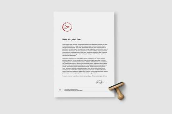 Free A4 Paper Sheet with Stamp Mockup