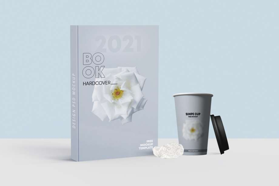 Free Book Cover with Cup Mockup