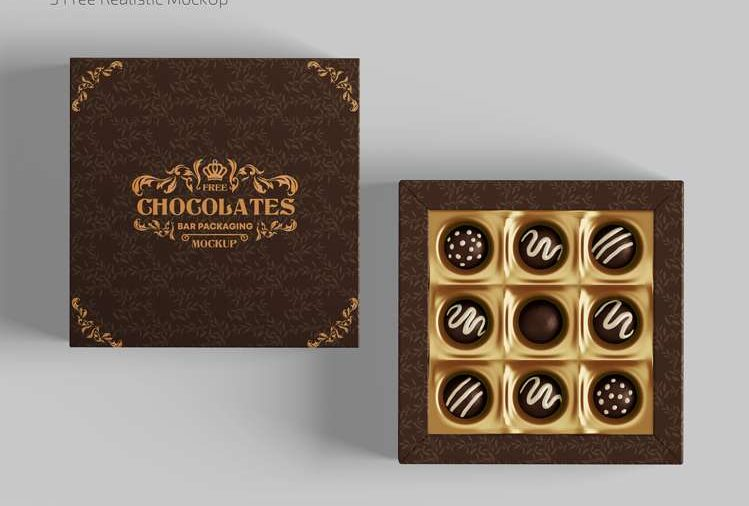 Free Chocolate Packaging Mockups In PSD