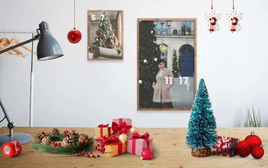 Free Christmas Frames Kit Scene Mockup