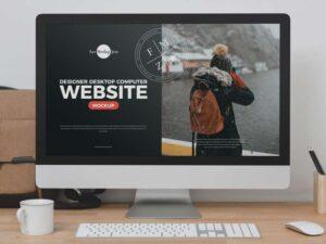 Free Designer Desktop Computer Website Mockup