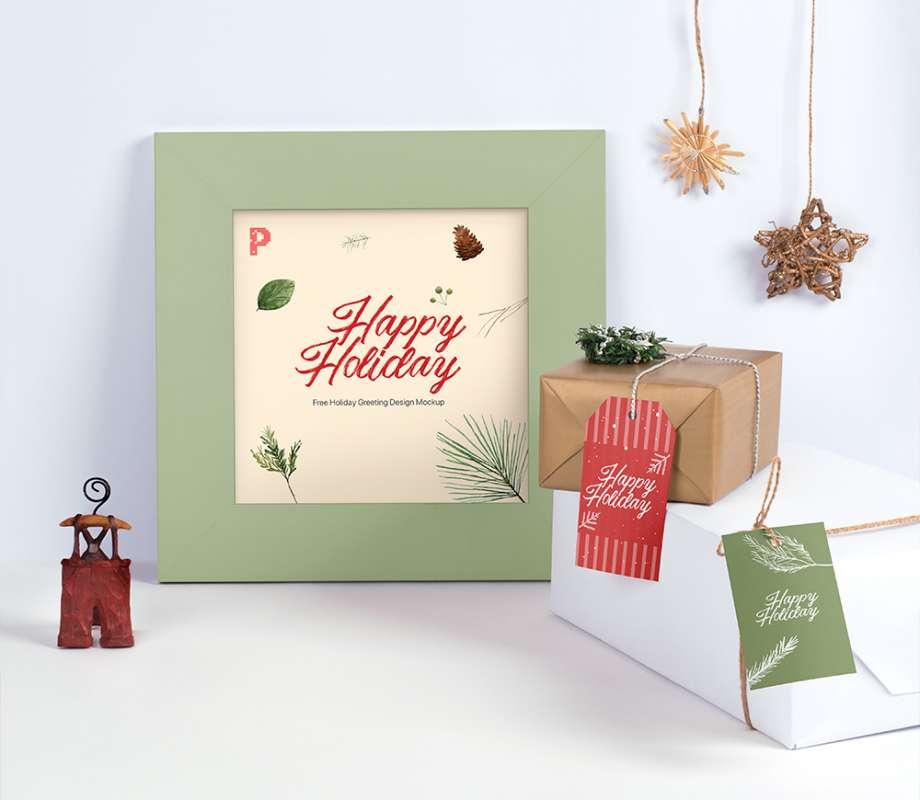 Free Holiday Greeting Frame Mockup