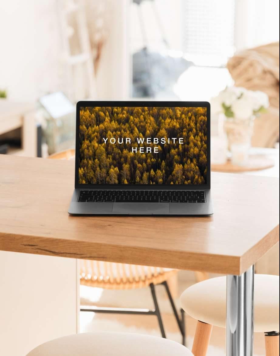Free MacBook Air in Living Room Mockup