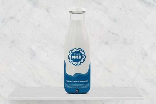 Free Milk Bottle Mockup