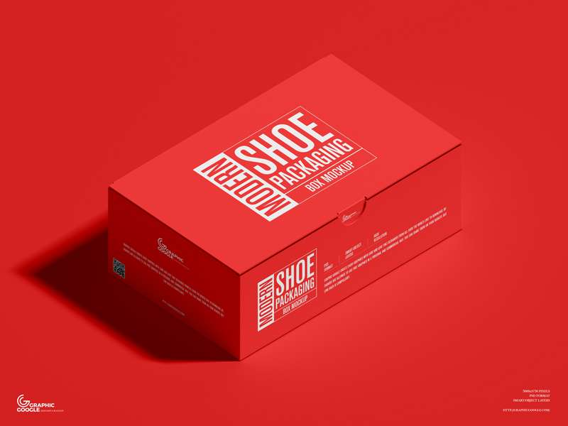Free Modern Shoe Packaging Box Mockup PSD