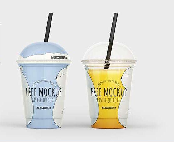 Free PSD Plastic Juice Cup Mockup Template
