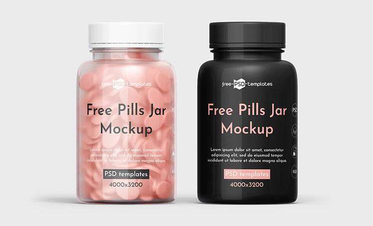 Free Pills Jar Mockup Template IN PSD