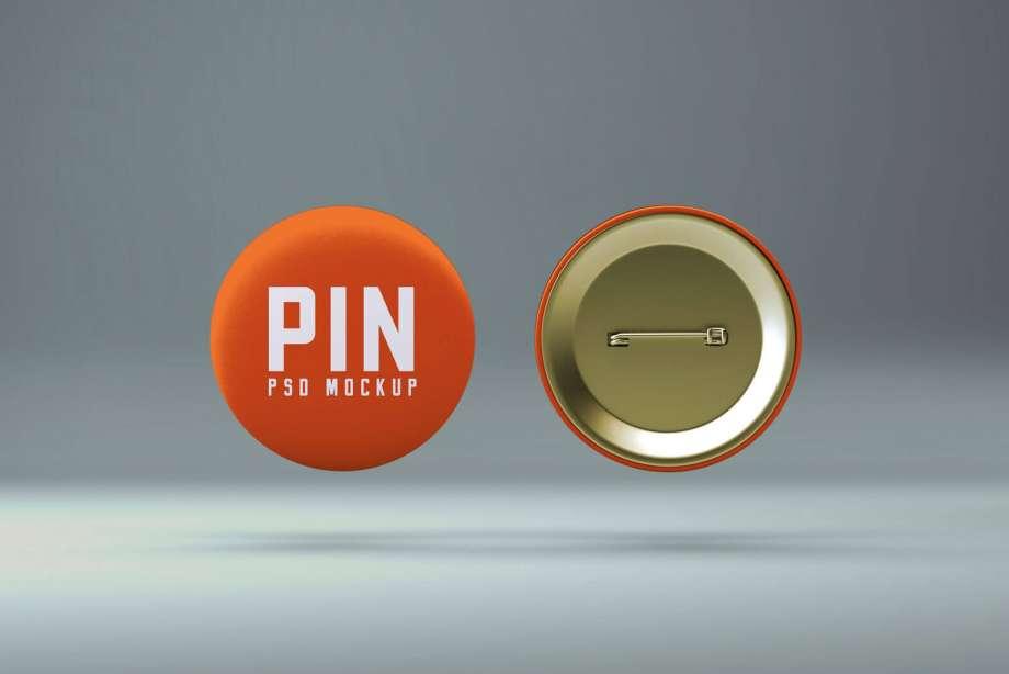 Free Pin Badge Button Mockup PSD