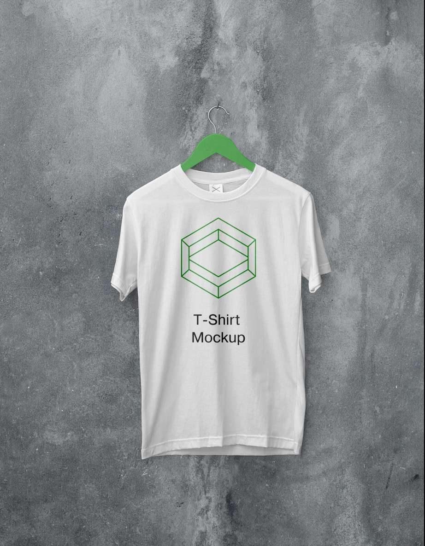 Free White Hanging T-Shirt Mockup