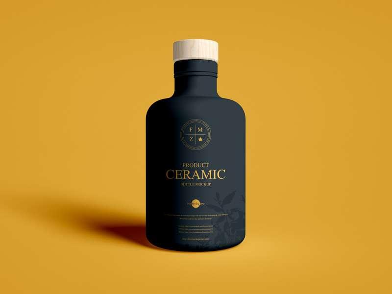 Free Wooden Lid Product Ceramic Bottle Mockup PSD