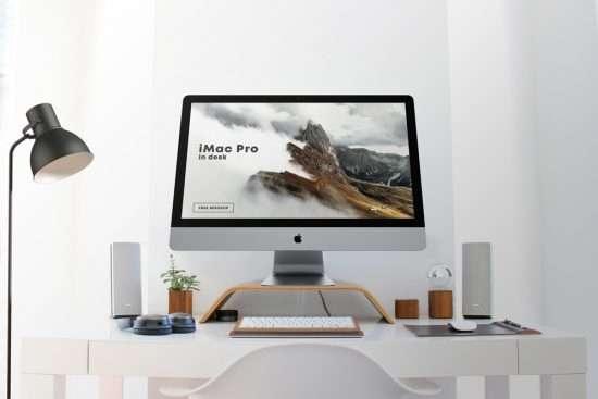 Free iMac Pro in Desk Mockup