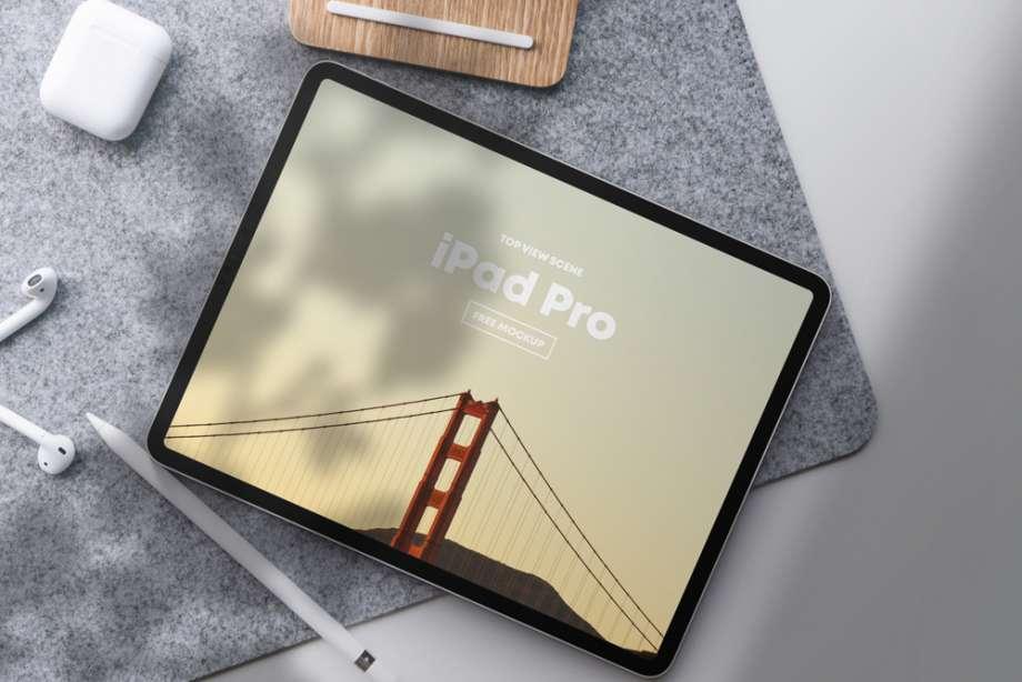 Free iPad Pro Top View Scene Mockup