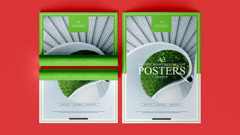 Free A3 Creative Brand Presentation Poster Mockup