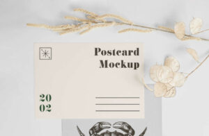 Free A5 Postcard with Envelope Mockup