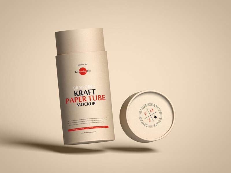 Free Branding Kraft Paper Tube Mockup