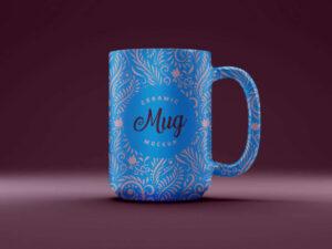 Free Ceramic 3D Coffee Mug Mockup PSD