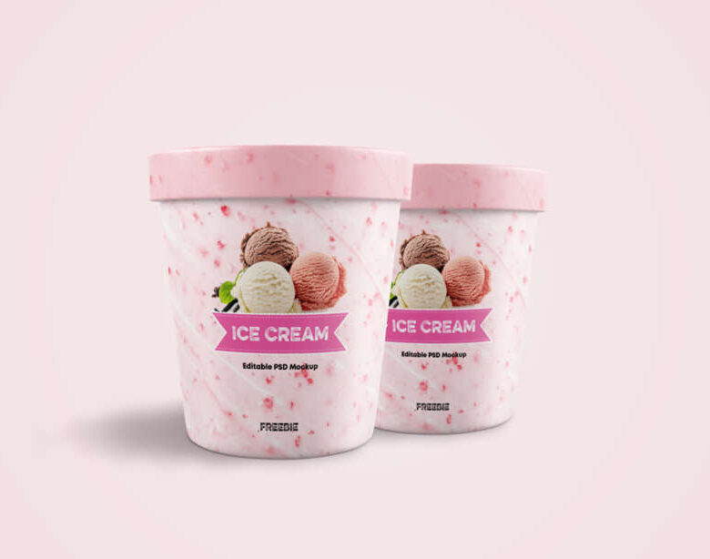 Free Ice Cream Jar Mockup